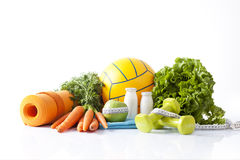 Fitness food and sport activity concept Stock Photos
