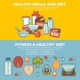 Fitness food and sports healthy diet food nutrition flat banners design. Vector protein drink, natural vegetables and fruit salad, energy bars and mass or Royalty Free Stock Photography