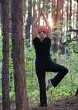 Fitness in the forest in the evening royalty free stock image