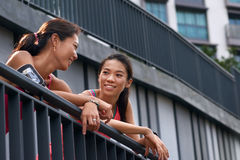 Fitness friends chatting stock image