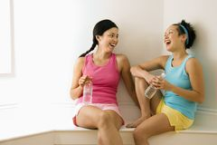 Fitness friends laughing Stock Photography