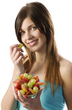 Fitness fruit girl Stock Image