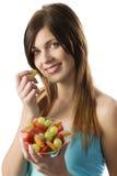 Fitness fruit girl Stock Image