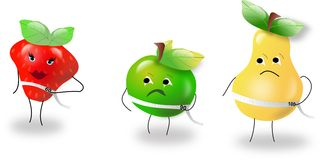 Fitness fruit. Strawberry, green apple and pear with metre with their rates of figures Stock Photos