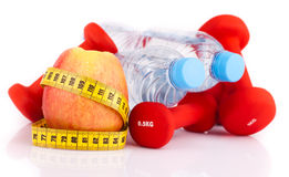 Fitness gear and apple Royalty Free Stock Photos