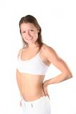 Fitness girl. The sports girl shows a fine figure Royalty Free Stock Image