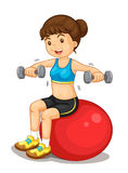 Fitness girl. Exercising with weights Stock Photo