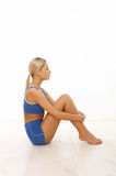 Fitness girl. Young beautiful woman during fitness time and exercising Royalty Free Stock Images
