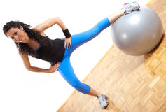 Fitness girl with ball Stock Image