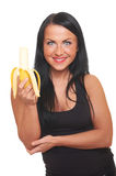 Fitness girl with banana isolated on white Stock Photo