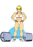 Fitness girl with a barbell. Illustration,color,logo, on a white Stock Photo