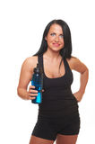 Fitness girl with bottle of water Stock Images