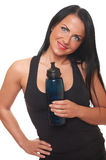 Fitness girl with bottle of water Royalty Free Stock Photos