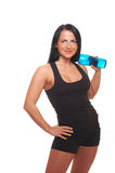 Fitness girl with bottle of water Royalty Free Stock Photography