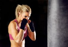 Fitness girl boxing Stock Photo