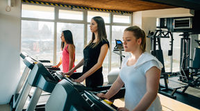 Fitness girl burning calories on the treadmill. Beautiful young cheerful girl in sportswear exercising on treadmill at gym. With other girls royalty free stock images