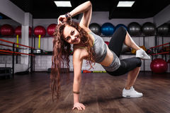 Fitness girl dancing zumba workout in gym. Weight loss activity exercises stock photography