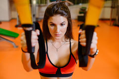 Fitness girl with  does. The concept of health, sports Royalty Free Stock Photography