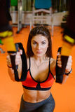 Fitness girl with  does. The concept of health, sports Royalty Free Stock Photo