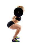 Fitness girl doing barbell squats Royalty Free Stock Photo