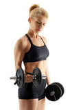 Fitness girl doing biceps curl Royalty Free Stock Photo
