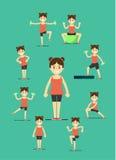 Fitness girl doing exercise, illustration set Royalty Free Stock Photography