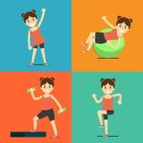 Fitness girl doing exercise, illustration set Stock Image