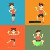 Fitness girl doing exercise, illustration set Royalty Free Stock Photo
