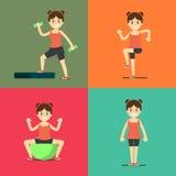 Fitness girl doing exercise, illustration set Stock Images