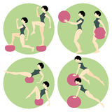 Fitness. Girl doing exercises. With a medicine ball Stock Photo