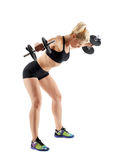 Fitness girl doing shoulder workout Royalty Free Stock Image