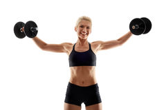 Fitness girl doing shoulder workout Royalty Free Stock Photos
