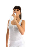Fitness girl drinking water Stock Image