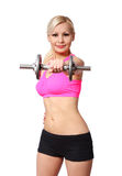Fitness girl with dumbbell. happy blonde young woman lifting weights, isolated Royalty Free Stock Image