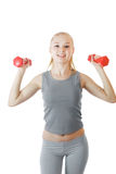 Fitness girl with dumbbells Royalty Free Stock Photos