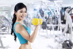 Fitness Girl With Dumbbells Stock Image