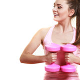 Fitness girl with dumbbells doing exercise Stock Photography