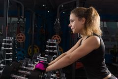 Girl with dumbbells. Royalty Free Stock Photography