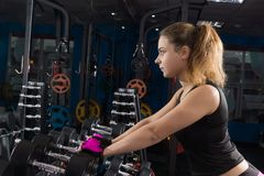 Girl with dumbbells. Royalty Free Stock Image
