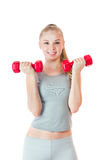 Fitness girl with dumbbells Royalty Free Stock Images