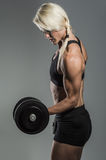 Fitness girl with dumbells Stock Image
