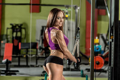 Fitness girl, execute exercise with gym apparatus Stock Photos