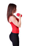 Girl exercise with dumbbells Stock Image