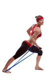 Fitness girl with expander Stock Photography