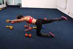 Fitness girl. Female doing workout with weightlifting, fitness room Stock Images