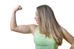 Fitness Girl Flexing Muscles Royalty Free Stock Photo