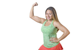 Girl Power, Flexing Muscles. Confident fitness girl, flexing her arm / biceps - isolated on white Stock Photos