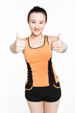Fitness girl gesture Royalty Free Stock Images