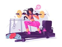 Fitness girl in gym. Fitness girl squats with barbell in gym. Vector flat illustration stock illustration