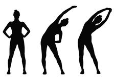 Fitness girl icon. Silhouettes of sportive woman stretching her hands up, workout it progress Stock Photo